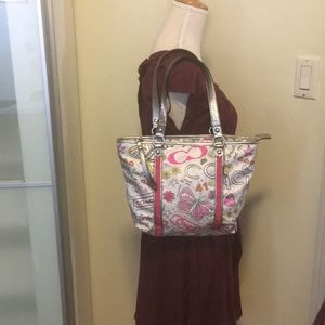 Coach Vinyl gray and Pink Tote